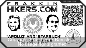 The Battlestar Galactica themed business cards we created for our PCT hike